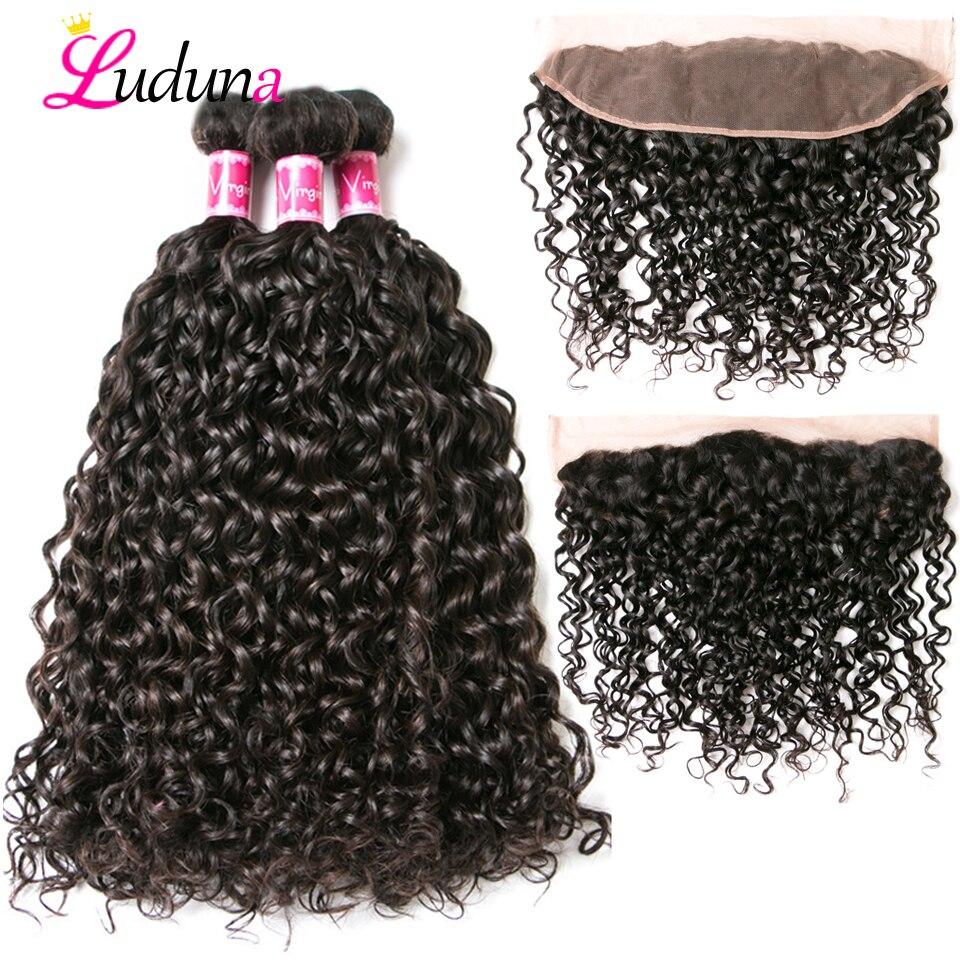 Luduna Human Hair 3 Bundles With Frontal Closure Brazilian Water Wave Human Hair Weave Bundles With