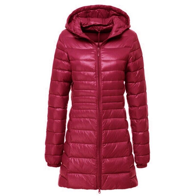 2018 Winter Light Long   Down   Jacket Woman Hooded Feather Jacket Warm Slim   Coat   Female MLC005