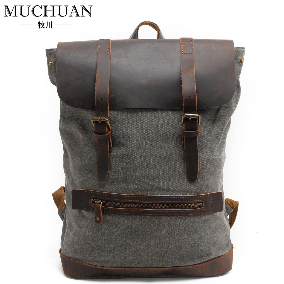 ФОТО Man Pure Cotton Canvas Both Shoulders Package Leisure Time Hiking bag Backpack Match Genuine Leather Outdoor travel bag