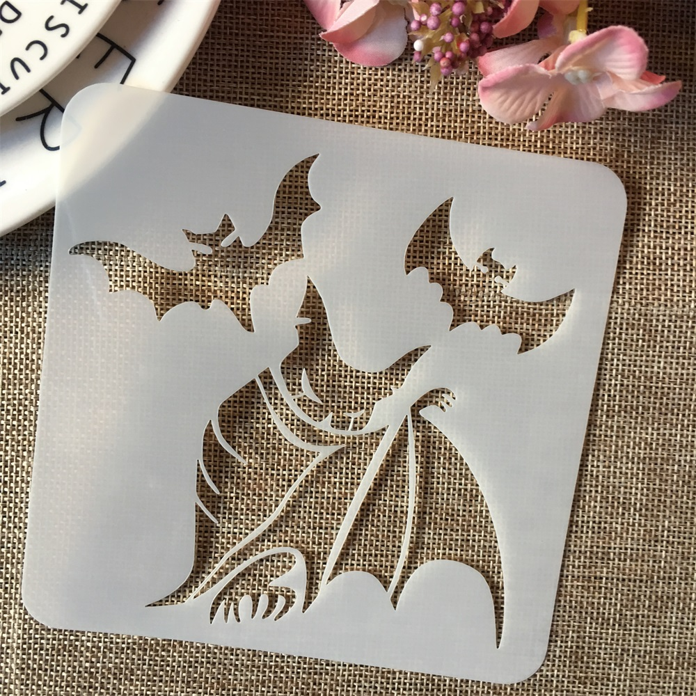 1Pcs 5*5inch Magic Bat Evil Halloween DIY Layering Stencils Painting Scrapbook Coloring Embossing Album Decorative Template
