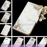 NEW Fashion Crystal Bow Bling Tower 3D Diamond Leather Cases Cover For APPLE IPhone 5C