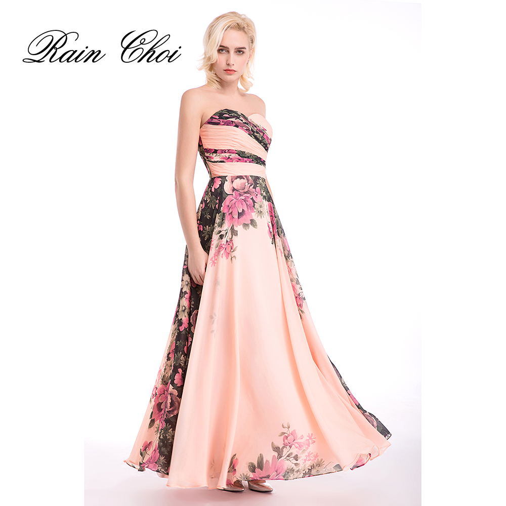 Long   Evening     Dresses   Chiffon Flower Floral Sweetheart Print Pattern Elegant Formal Gowns   Evening   Wedding Party   Dresses