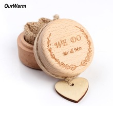 OurWarm Wooden Ring Bearer Box Wedding Engagement Rustic Engraved Personalized Anniversary Gift