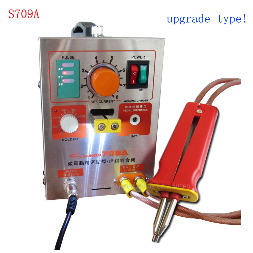 By DHL1pc1.9kw LED Pulse Battery Spot Welder 709A with Soldering Iron Station Spot Welding Machine for 18650 16430 14500 battery new 1 9kw battery spot welder welding machine for notebook mobile phone 18650 16340 14500 battery pack 110v 220v