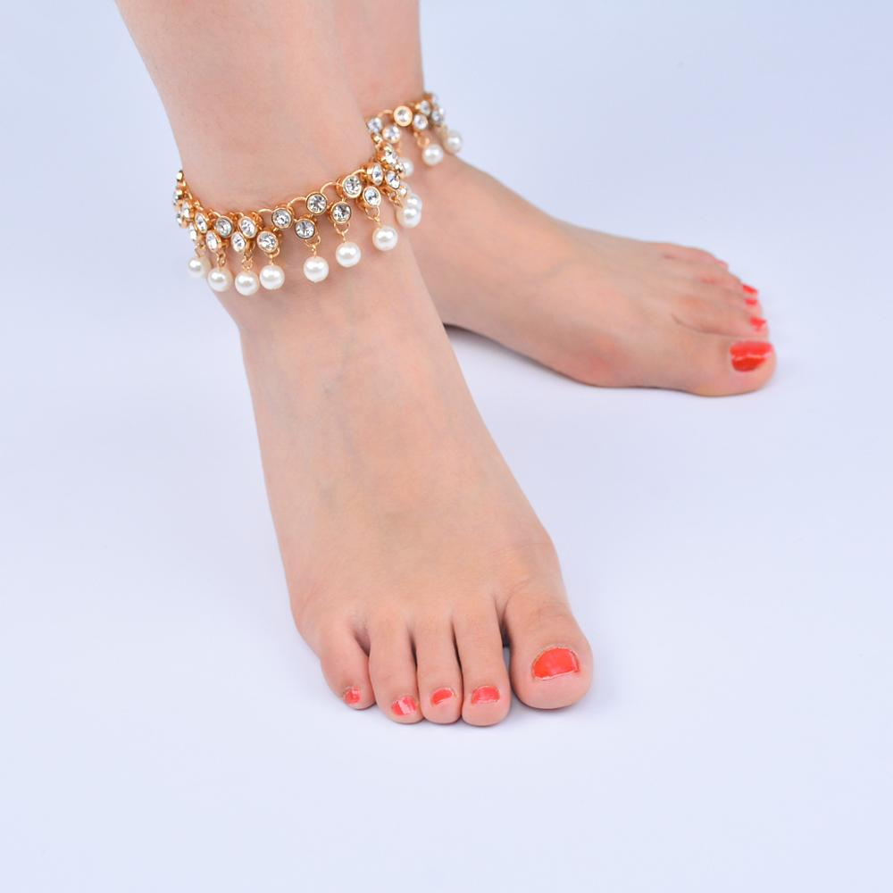 Imitation Pearl Tassel Anklet Fashion Imitation Pearl Tassel Crystal Anklets for Women Summer Beach Simple Crystal Anklet in Anklets from Jewelry Accessories