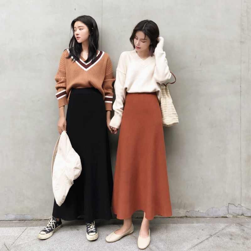 ea00cf860d0 Дуэйн Оригинальные юбки женские трикотажные длинные плиссированные юбки  весна 2019 корейская однотонная Высокая талия женская элегантная