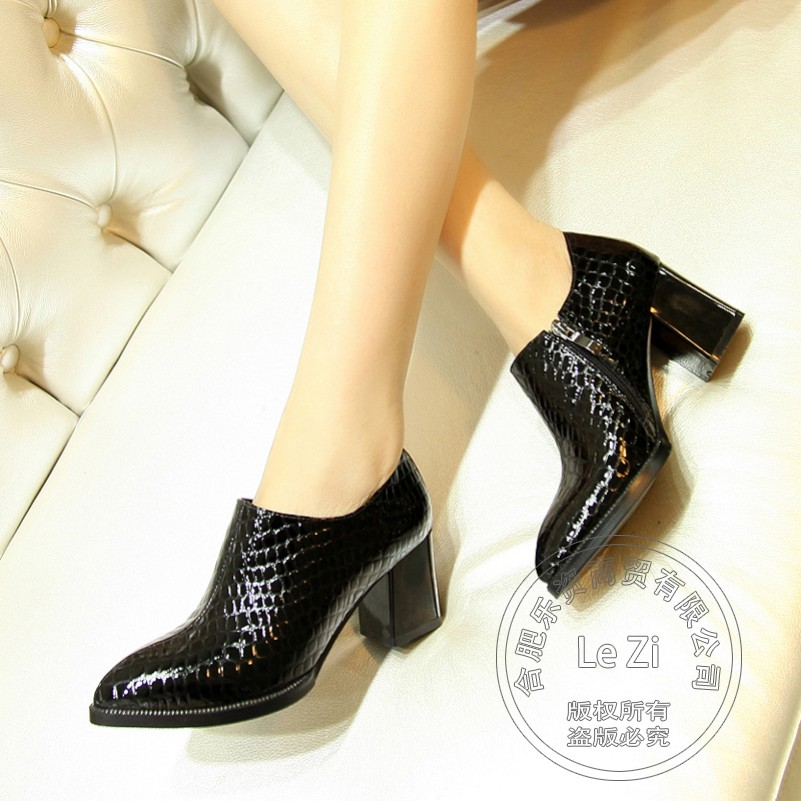 Chunky Heel Genuine Leather Pointed Toe Patent Zip Booties Most Popular Alligator font b Women b