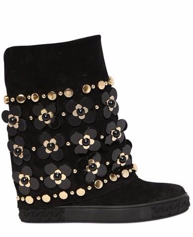 2016 Autumn Bewest Bling Bling Crystal Flower Wedge Boots Black Suede Rivets Studded Height Increasing Ankle Boots