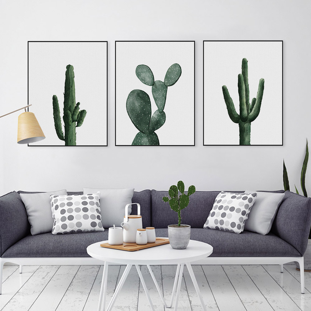 Nordic Watercolor Green Cactus Plant Poster Print Hipster Floral