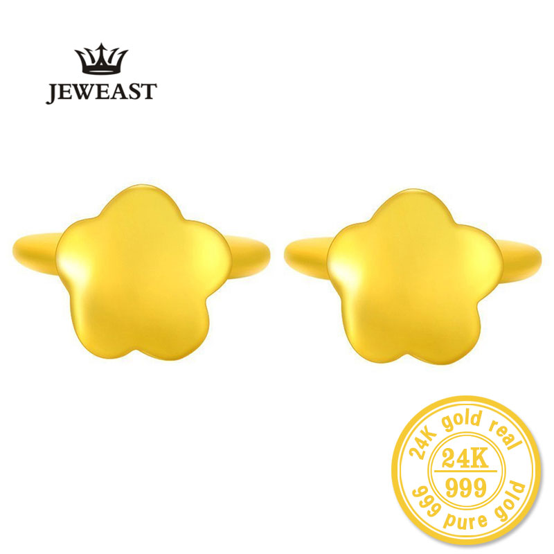 ZZZ JEWEAST 24k Pure Gold Star Shape Earrings For Women Yellow Gold Jewelry Polishing Process Refined Elegant A Pair Stud pair of vintage rhinestoned openwork flower shape stud earrings for women