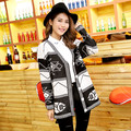 2015 New Spring Fashion High Street Coat Female Women Ladies Loose Casual Knitted Sweater Cardigan Geometric Patterns H5111