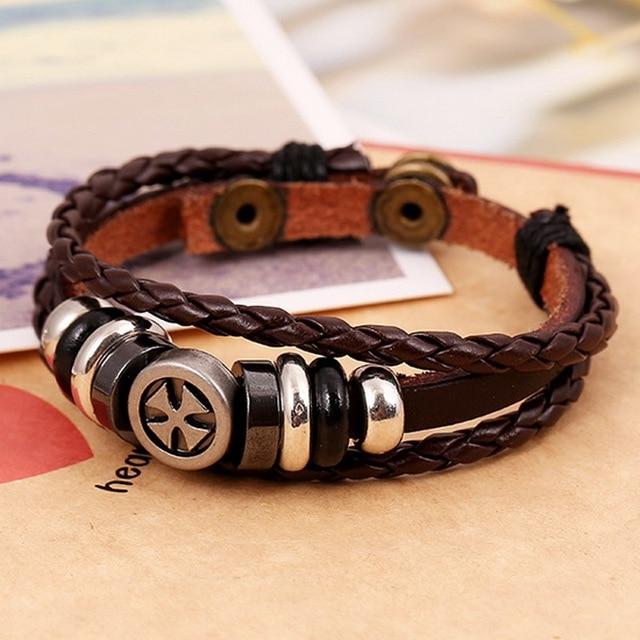 Панк винтаж кожаный браслет для женщины мужчины ювелирные изделия аксессуары пандоры прелести нержавеющей стали интернет-магазины