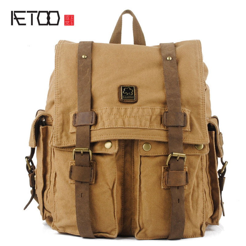 AETOO Korean casual canvas bag personality square canvas shoulder bag A097 male package