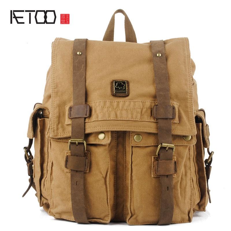 Aetoo韓国カジュアルキャンバスバッグ人格平方キャンバスショルダーバッグa097男性パッケージ  グループ上の スーツケース & バッグ からの バックパック の中 1