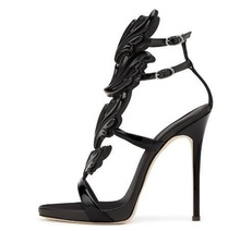 Sexy Metallic Leather Wing Sandals Leaf Designer Gladiator High Heels Shoes Women Winged Candy Colors