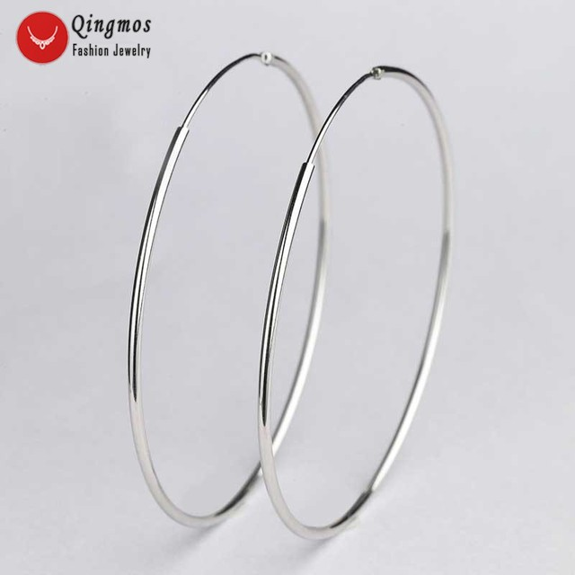 Qingmos Classic Trendy Hoop Ring Earrings for Women with White 55mm Sterling Silver 925 Hoop Ring Earrings -ear570 Free Shipping