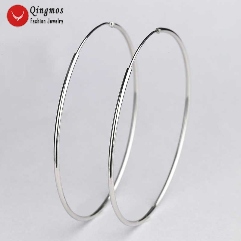 Qingmos Classic Trendy Hoop Ring Earrings for Women with White 55mm Sterling Silver 925 Hoop Ring Earrings -ear570 Free Shipping