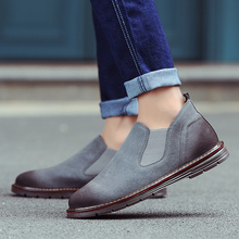 New Fashion 2018 Spring/autumn Hot Casual Cow Suede Shoes High Quality Solid Comfortable Boots Size 38-44 Black Brown Gray 4