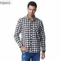FGKKS Men Flannel Plaid Shirt 100 Cotton 2017 Spring Autumn Casual Long Sleeve Shirt Soft Comfort