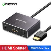 Ugreen HDMI Splitter 4K HDMI Audio Extractor Optical Toslink SPDIF to HDMI Video Audio Adapter Converter 3.5mm Jack for PS4