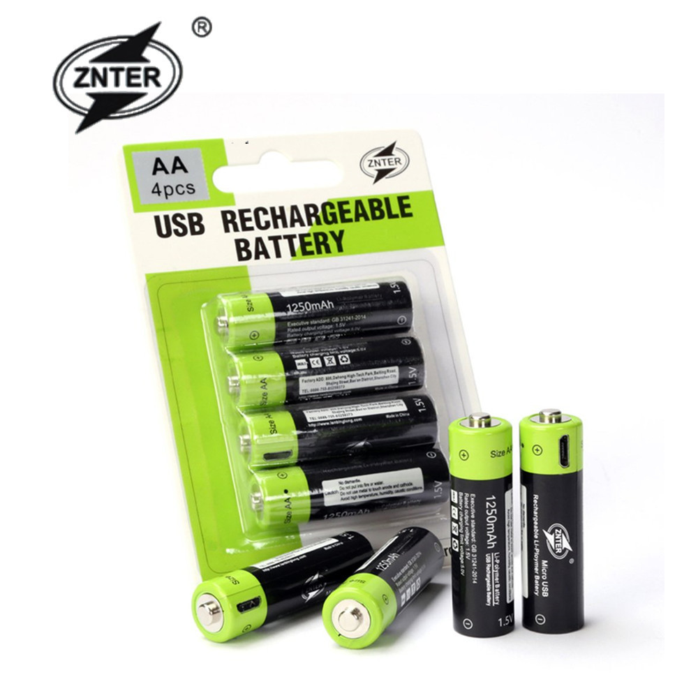 ZNTER <font><b>AA</b></font> <font><b>1.5V</b></font> 1250mAh ZNT5-1-BR Universal USB <font><b>Rechargeable</b></font> Lithium Polymer <font><b>Battery</b></font> Charged by Micro USB Cable image
