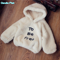 2017 autumn and winter new girls wear Western three-dimensional patch fabric letters fur soft plush hooded sweater