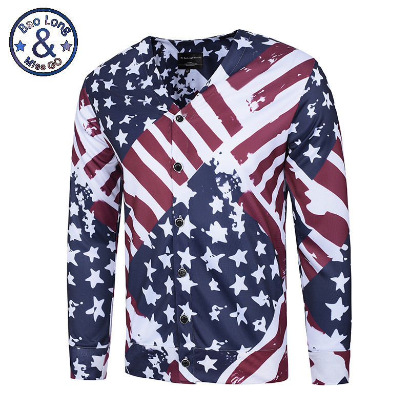 2017 Mr.BaoLong&Miss.GO New Stylish USA Flag Printed Shirts Men 3d Shirts Print Striped Stars Long Sleeve V-neck Button Tees Shi