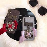 Meisje Stijl Vinger Ring 3D Kimono Mobiele Telefoon Case Voor iPhone8 8 Plus Fluwelen Crystal Beschermende Shell Voor iPhoneX Terug Cover
