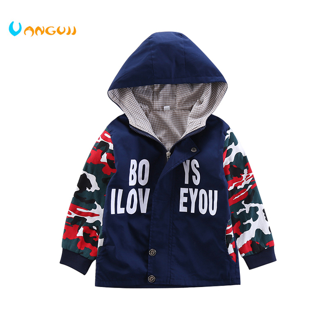 4c7ccf987088 boys jacket camouflage stitching hoodie clothing 3-9 year old boy coat long  sleeve Zipper all match summer Printed letters