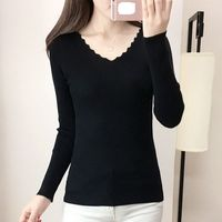 מעיל החורף חדש הדוקה קוריאנית שרוולים ארוכים שחור V צוואר סוודר חולצה השפל סוודר