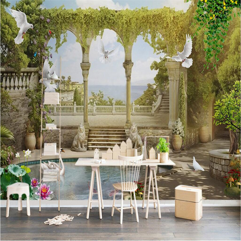 beibehang Custom Photo Wallpaper Sticker European 3D 3D Landscape Pastoral TV Background Wall papel de parede 3d para sala atac