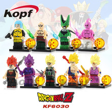 Single Sale Dragon Ball Z Figures Goku Vegeta Perfect Cell Majin Buu Gohan Bulma Tien Shin Han Building Blocks Kids Toys KF6030