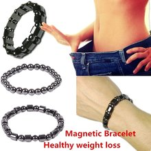 1Pc Weight Loss Bracelet Round Magnetic Stone Therapy Slimming Hand Chain Hematite Stretch Magnet Bracelet Jewelry Health Care(China)