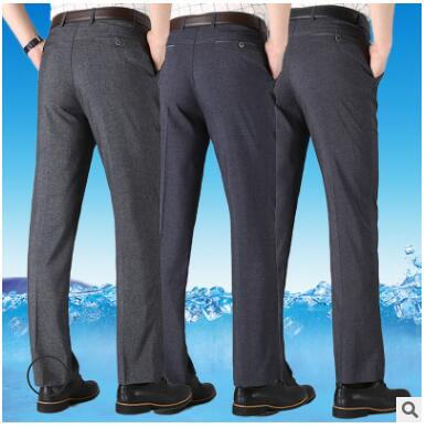 Лето в тонком стиле Мужские штаны повседневные штаны Свободные отца брюки в старом Мужские штаны без глажения