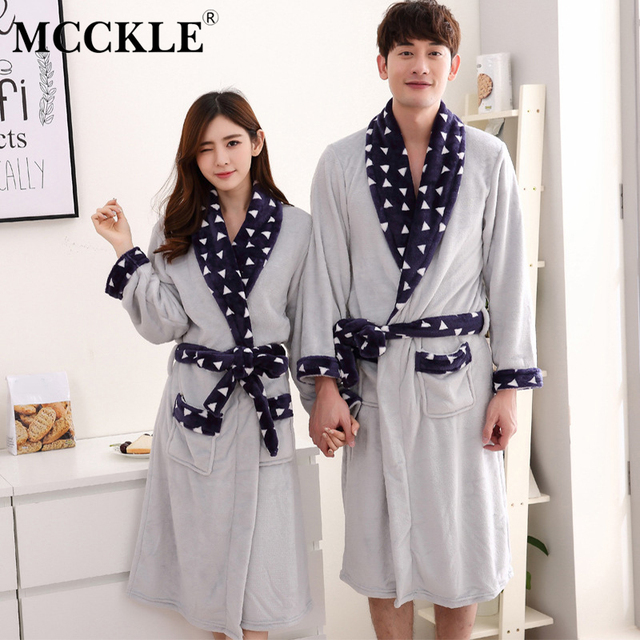 MCCKLE Women Flannel Winter Night Robe 2018 Autumn Couple Homewear Bathrobe  Lover Warm Long Thick Sashes Sleepwear Dressing Gown e2f46aa8d