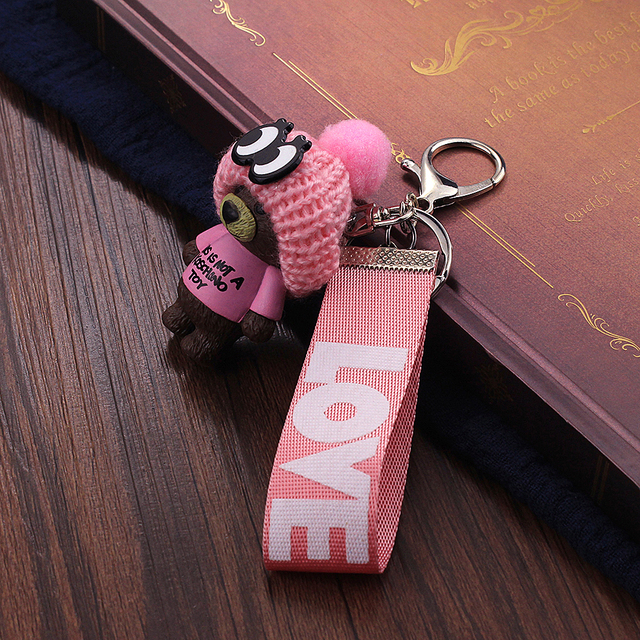 Vicney New Arrival Cute Teddy Bear Key Chain'THIS IS NOT A KOSCHINO TOY'Bear KeyChain Animal Pattern Key Holder For Girl Friend 3