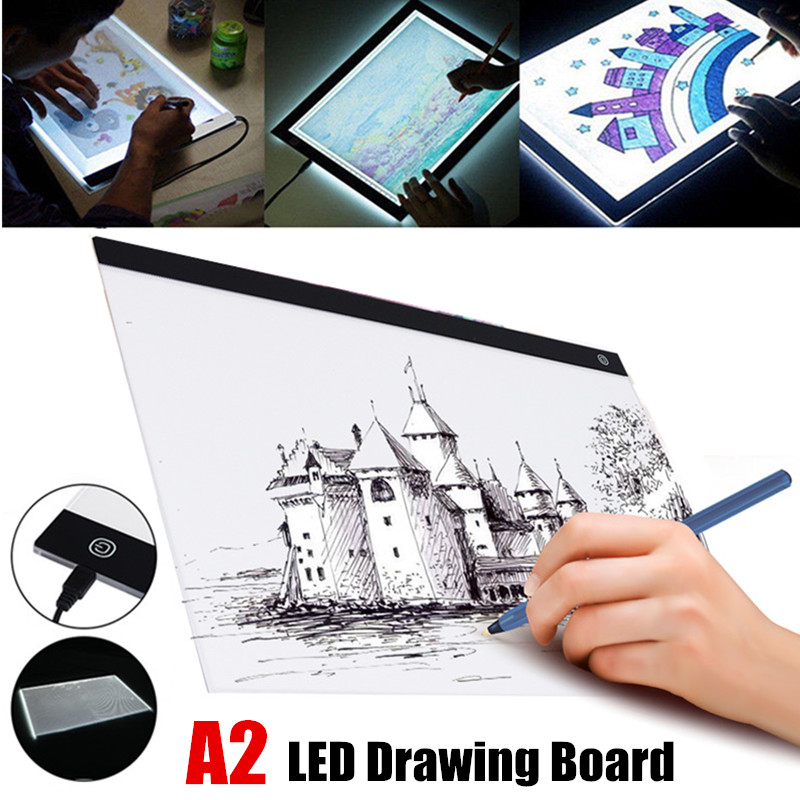 USB <font><b>A2</b></font> LED Drawing Board Track Comics Tool <font><b>Light</b></font> Box Drawing Board Acrylic Material Tattoo Artist Mold Board Table Copy <font><b>Pad</b></font> image
