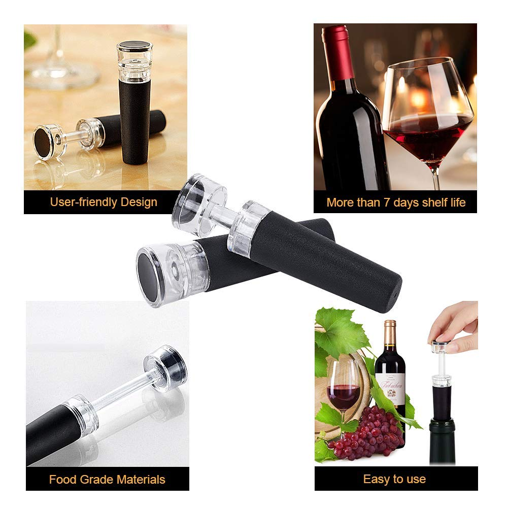 8 Pcs Reusable Wine Saver with Leak-Free Seal to Preserve Wine for all Sizes of Wine Bottles