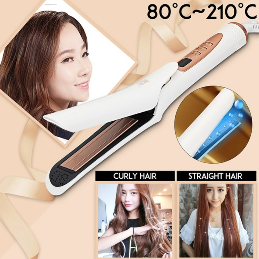 2-in 1 LED Display Dry/Wet Hair Straightening Iron 4D Vapor Steam