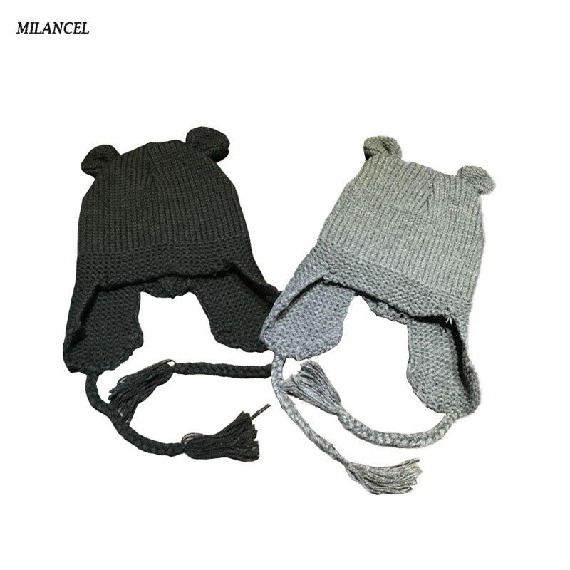 Baby Knit Hat Cute Bear Ear Boy Girl Kids Warm Hat Cap For Child 3-24 Months Baby Autumn Hat
