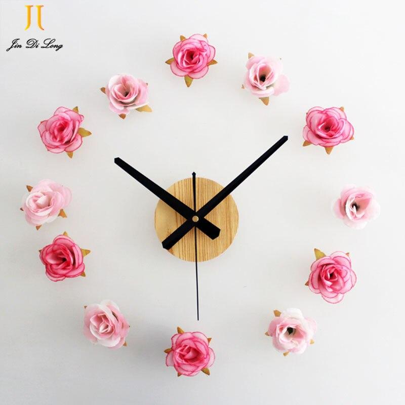 Nízká cena Výprodej Romantická růže DIY Nástěnné hodiny imitace Dřevo Pohyb Quartzwall Hodiny Módní Kreativní Hodiny Ztlumit