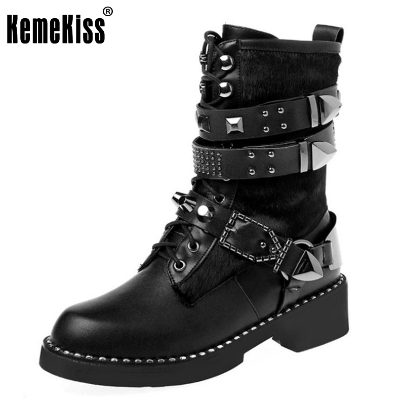 KemeKiss Women Genuine Leather Heels Mid Calf Boots Ladies Rivets Cross Strap Shoes Women Warm Punk Footwear Size 34-43 mabaiwan handmade rivets military cowboy boots mid calf genuine leather women motorcycle boots vintage buckle straps shoes woman
