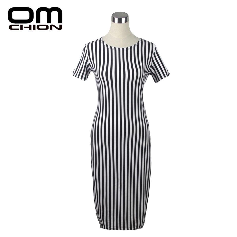 OMCHION 2016 Summer Dress Women Elegant Stripe Stretch Slim Work Party Pencil Office Dress Plus Size Casual Dresses XXXXL ZDF01 short dresses office wear