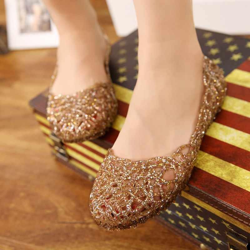 Kadın sandalet yaz rahat jöle ayakkabı sandalet Hollow Out Mesh daireler bayan kız nefes sandalet 23-25cm