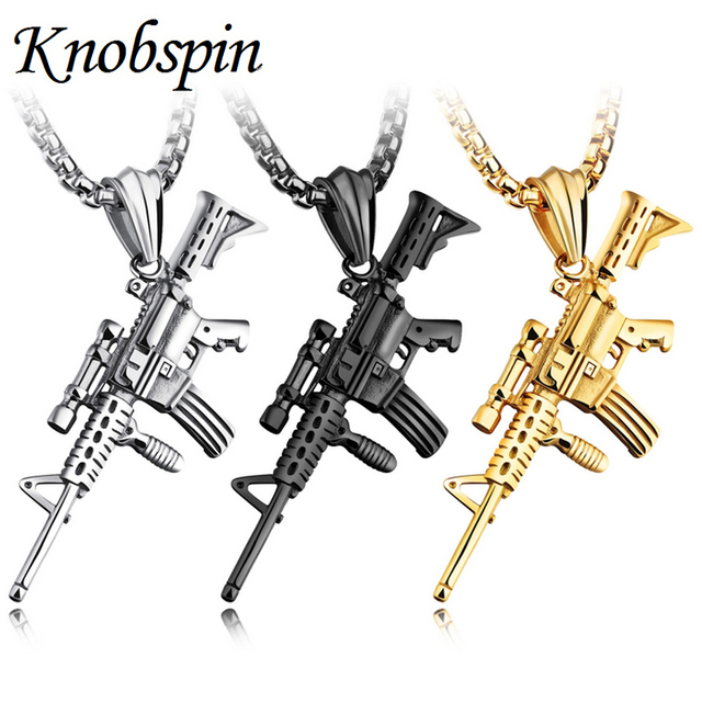 Men Necklaces Black Gold-color Stainless steel Gun model Rifle Iced-Out Pendant Necklace Hiphop Bike Military Fashion Jewelry
