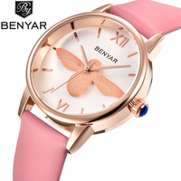 BENYAR Fashion Casual Quartz Watch Women Leather Strap Luxury Women Watches Waterproof High Quality Relojes Hombre