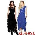 Платья l-6xl длинный шнурок Большой размер Vestidos Longos большой размер женской одежды мода платье без рукавов 5XL макси платье тонкая талия xl