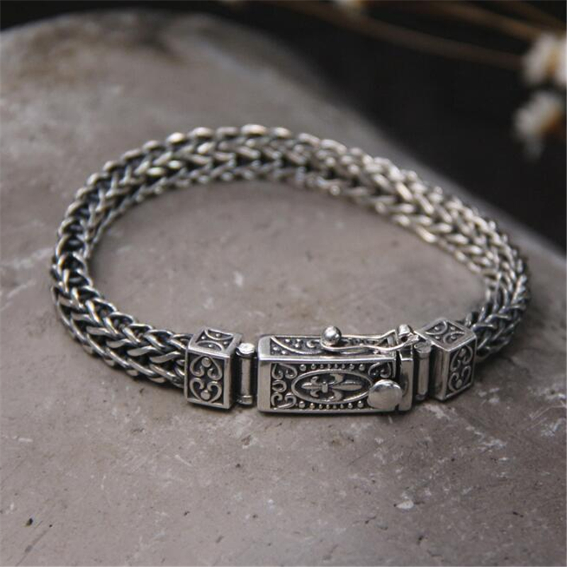 2018 Mens Jewelry Double Layer Link Chain Men Bracelets 925 Sterling Silver Bracelets & Bangles Punk Wristband for Gifts buy mens string bracelets