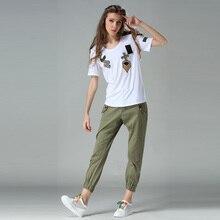 Высококачественная хлопковая модная летняя футболка с коротким рукавом, Женская/мужская футболка с вышитым бисером значком, футболки Harajuku