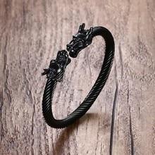 Adjustable Black Dragon Heads Stainless Steel Bracelet